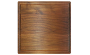 Square wood cutting board with juice groove